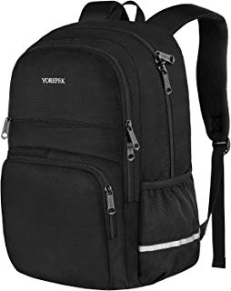 YOREPEK Waterproof Laptop Backpack,Lightweight School Bookbags for Girls and Boys,Travel Rucksack Casual Daypack for Men Women,Durable College High School Bagpack Fits 15.6 Inch Laptop Notebook,Black