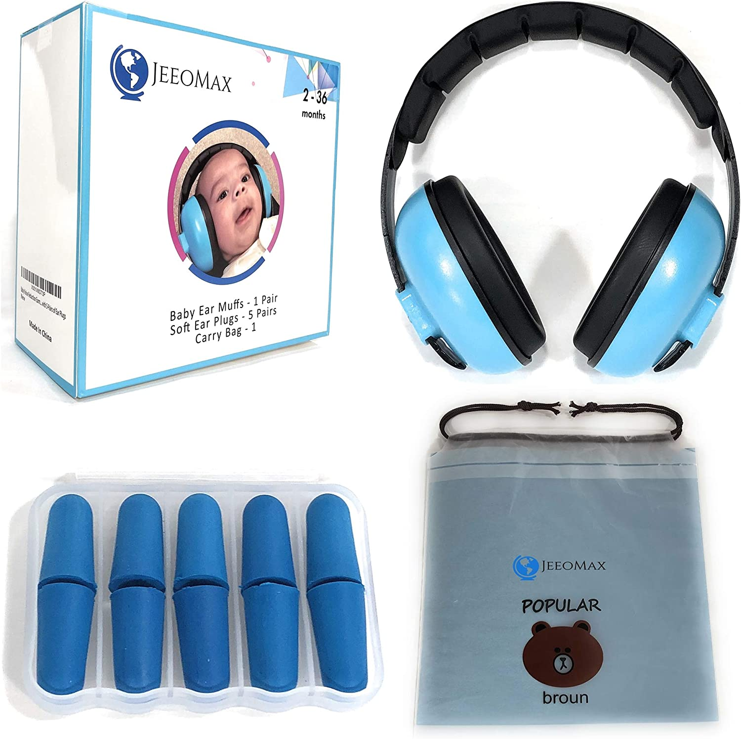 JeeoMax Baby Ear Muffs Noise Protection Headphones and Earplugs Pack - Ages 2 to 36 Months
