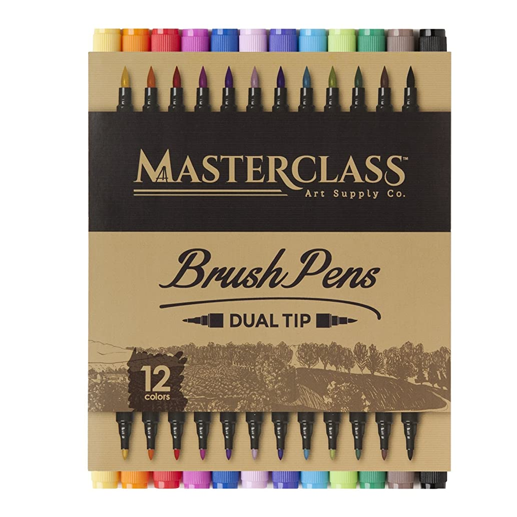 Masterclass Premium Dual Tip Brush Markers, 12 Color, Non-Toxic Water Based Double Tip Pens