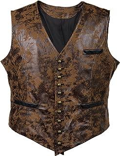 Mens Steampunk Faux Leather Cowboy Waist Coat Vest