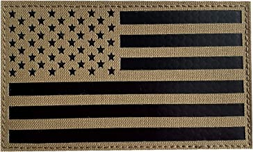 5x3 inch Large Infrared IR US USA American Flag Patch Tactical Vest Patch Hook-Fastener Backing (Coyote Brown Tan)