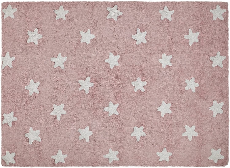 Lorena Canals Waschbarer Teppich Stars 100% Baumwolle -Rosa- Weiß- 120x160 120x160 120x160 cm B00GMH38G8 086227