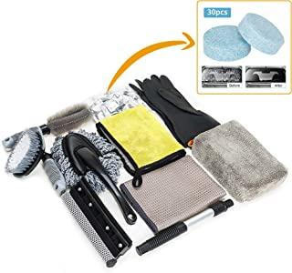Wemk Car Cleaning Tools Kit, 9Pcs Car Wash Kit with Extra Gloves and 30Pcs Car Windshield Tablets, Wax Applicator Wash Sponge Mitts, Supplies for Car and Motorcycle Enthusiasts