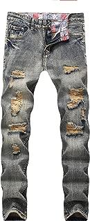 Men's Blue Slim Skinny Fit Distressed Ripped Elastic Tapered Leg Denim Jeans