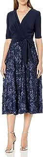 Alex Evenings Women's Tea Length Dress with Rosette Detail