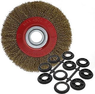 Cepillo limpiador circular metálico Ototec con cerdas de alambre de acero para esmeriladora de banco. 125/150/200 cm, 200 mm
