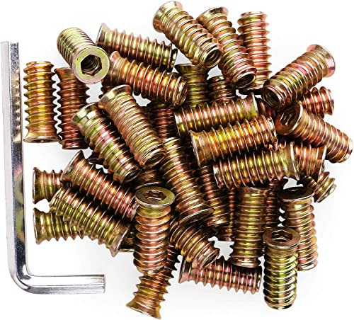"""40Pcs Anwenk 1/4""""-20 x 25mm Furniture Screw in Nut Threaded Wood Inserts Bolt Fastener Connector Hex Socket Drive for..."""