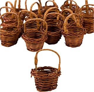 Mini Woven Baskets with Handles (1.75 x 2.7 in, Brown, 24-Pack)
