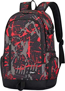 Cool Backpack for Teen Boys & Girls, Ricky-H Red/Black Men & Women's Graffiti Pattern Travel Bag, College Students Bookbag with Laptop compartment -Graffiti Red JTY