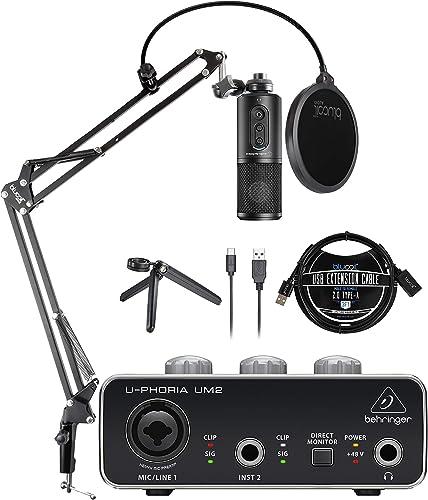 discount Audio-Technica ATR2500x-USB Cardioid Condenser Microphone (ATR Series) Bundle with Behringer U-PHORIA UM2 USB Audio Interface, Blucoil Boom Arm Plus Pop Filter, and 2021 3' USB Extension discount Cable online sale