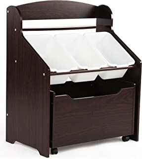 Humble Crew, Espresso Toddler-Size Storage Unit with Rolling Toy Box