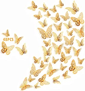 Muudee 48pcs 3D Butterfly Wall Decor Wall Decorations, Removable Butterfly Stickers for Home Bedroom Bathroom Party Decorations, Gold