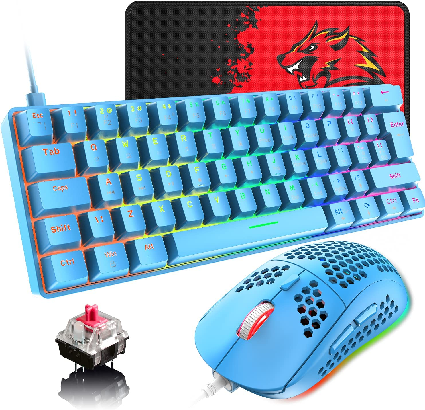 60% Wired Mechanical Gaming Keyboard and shop Combo All items free shipping Mouse Ultra-Comp