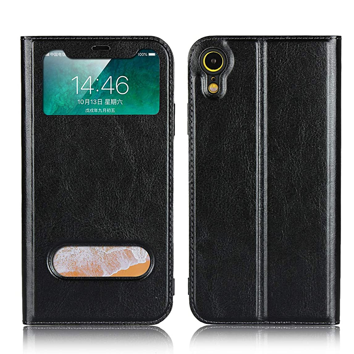 Jaorty for Apple iPhone XR case, PU Leather Flip Case with View Window Stand Kicstand Smart Sleep/Wakeup Magnetic Closure Soft TPU Bumper Slim Leather Case for iPhone XR,Black hbcio22333050973