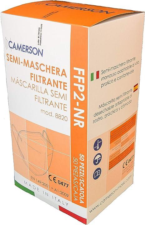 Mascherina ffp2 certificate ce  5 strati con capacità filtrante 99% confezione da 50 pezzi - camerson 8820