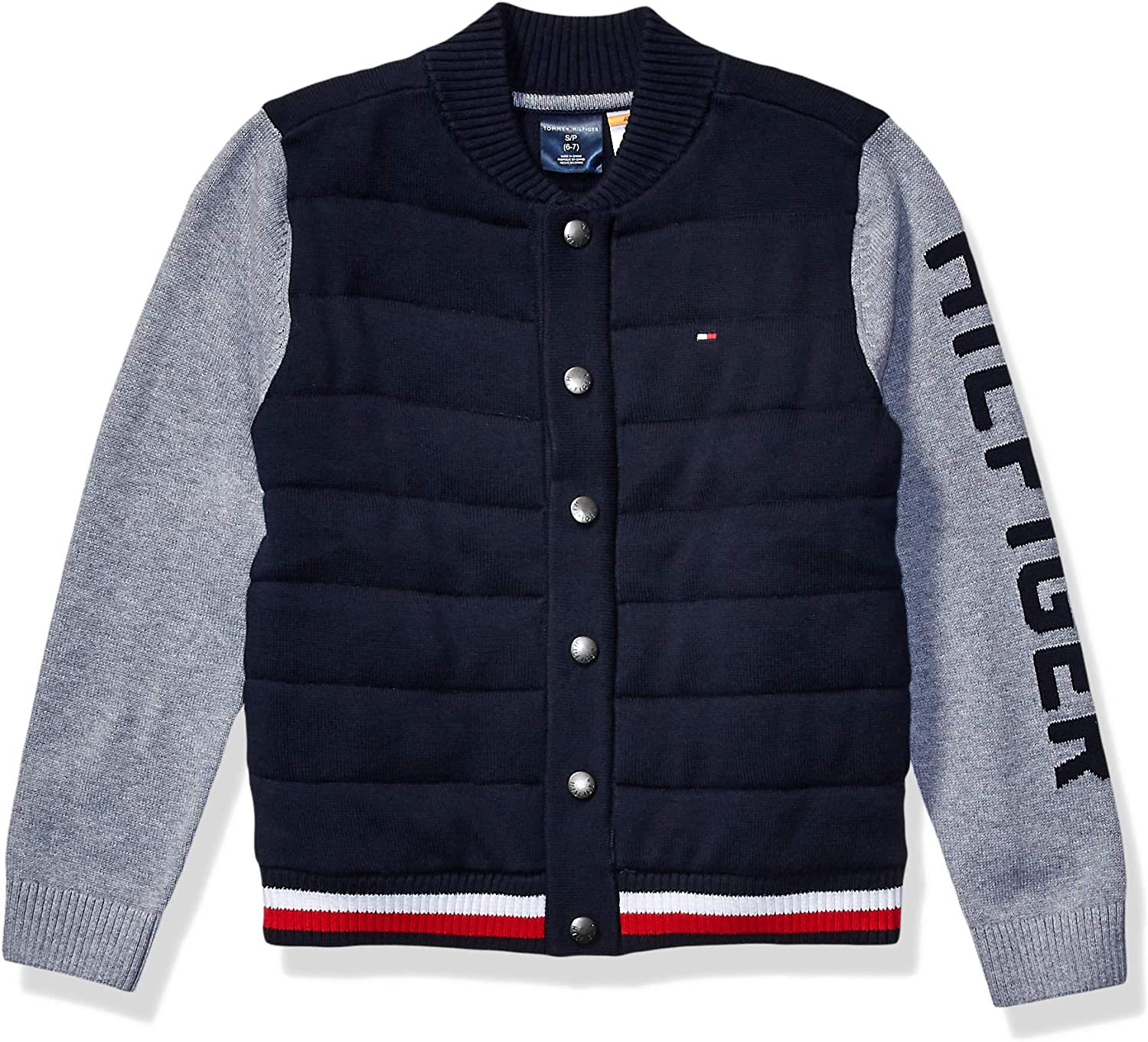 Tommy Hilfiger Boys' Adaptive Las Vegas Mall Baseball Magnetic But with Sweater Fashionable