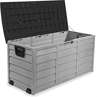 Barton 63-Gallons Patio Storage Deck Box Container for Patio Furniture, Toys, Pools, Yard Tools Store Items on Porch, Backyard, Deck, (Grey)