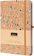 A5 Classic Notebook/Journal,Hard Cover Writing Notebook with Fine Expandable Paper Pocket, Pen loop,8.5x 5.8 In,Wood Color, Premium Thick Paper 192 Pages for School Season