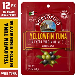 Portofino Yellowfin Tuna in Extra Virgin Olive Oil with Sea Salt - 2.5oz Pouch (Pack of 12)
