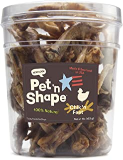 Pet 'N Shape - Made In Usa - Chicken Feet Treat For Dogs, 1-Pound Tub