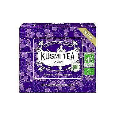 Kusmi Tea - Infusión Bio Be Cool - Mezcla de plantas, menta piperita, regaliz y manzana - Tisana ecológica, sin teína - Caja de 20 bolsitas