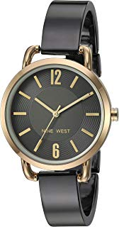 Nine West Reloj de pulsera para mujer, Gris metálico/dorado
