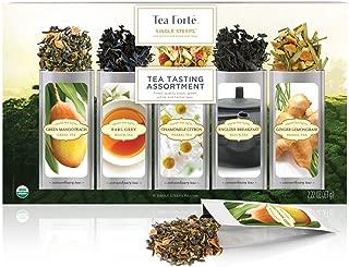Tea Forte Single Steeps Tea Tasting Assortment Organic Loose Leaf Tea Sampler, Tea Variety Pack, 15 Single Serve Pouches, Green Tea, Herbal Tea, Black Tea