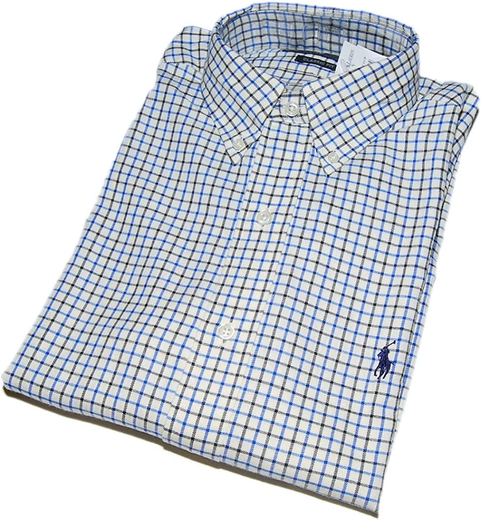 Polo Ralph Lauren Mens Dress Shirt Plaid Blue Black Check Small