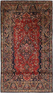 Antique Kashan Traditional Red and Navy Blue Wool Persian Rug with Tree of Life Motifs