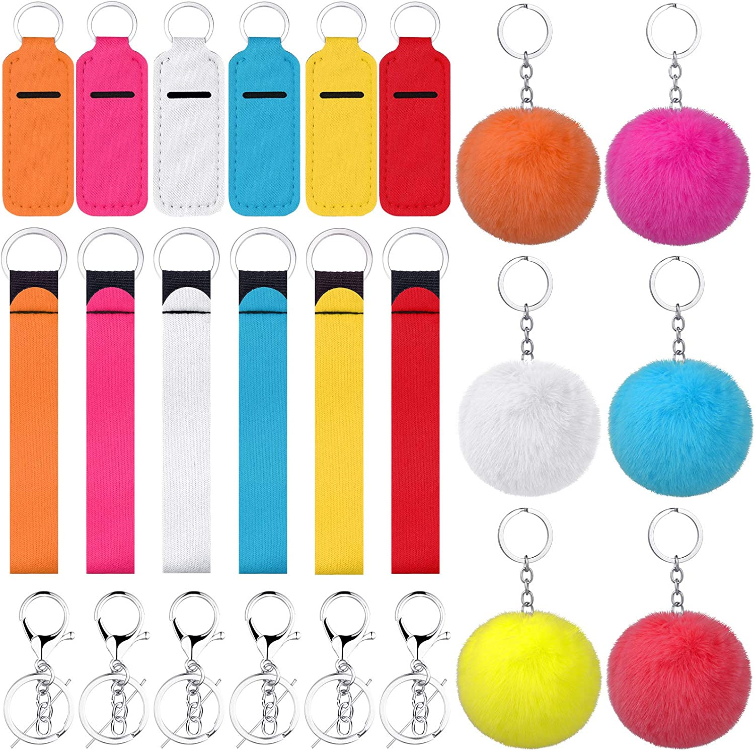24 Pieces Chapstick Holder Keychains Sale item Keychain Max 89% OFF Lanya and Wristlet