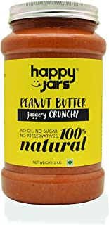 Happy Jars 1kg Jaggery Crunchy Peanut Butter, 10g Protein, Natural, No Sugar