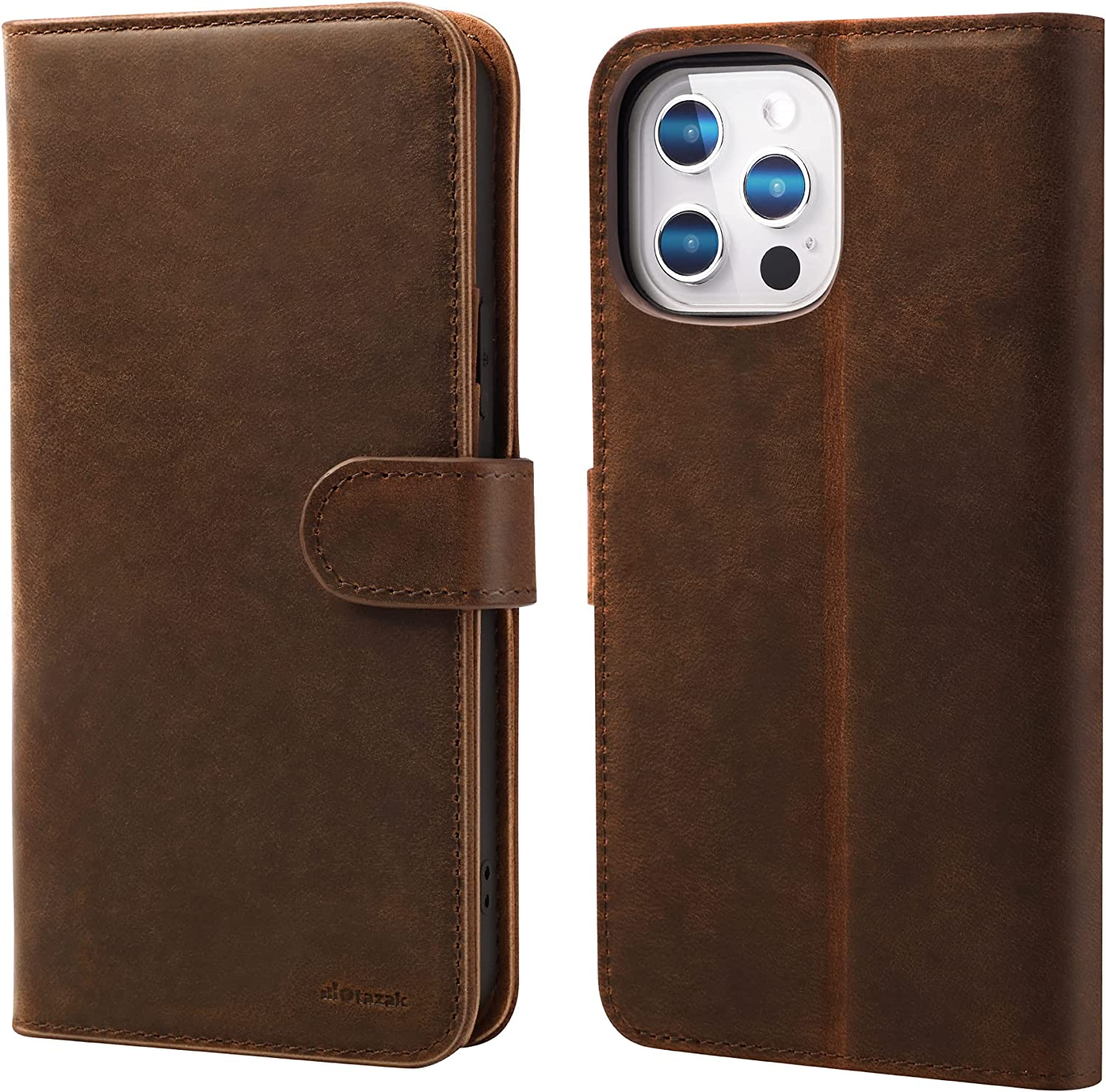 Wallet Case for iPhone 12 Pro Max, Leather Folio Flip Wallet Case for iPhone 12 Pro Max, (Genuine Crazy Horse Cowhide)(Handcrafted Fully), RFID, Card Slot, Magnet, Stand, TPU (Dark Brown 6.7)