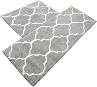 U'Artlines Kitchen Mat, Decorative Non-Slip Microfiber Doormat Bathroom Mats Shower Rugs for Living Room Floor Mats (17.7x25.6+17.7x47.2, Gray)