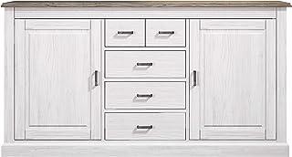 HomeSouth - Mueble Aparador 2 Puertas + 5 Cajones Buffet para Salon Cocina o Comedor Modelo Irma Acabado en Andersen P...