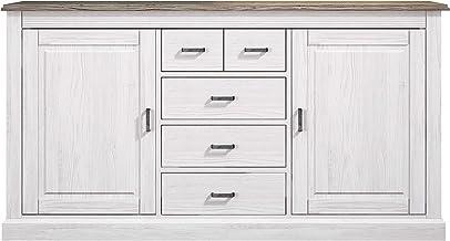HomeSouth - Mueble Aparador 2 Puertas + 5 Cajones, Buffet para Salon, Cocina o Comedor, Modelo Irma, Acabado en Andersen Pino y Gris, Medidas: 200 cm (Largo) x 104 cm (Alto) x 42 cm (Fondo)