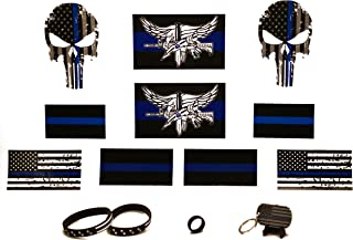 Thin Blue Line (10) Pack Variety Decals/Bumper Stickers w/ (4) Piece Key Chain Gift Pack