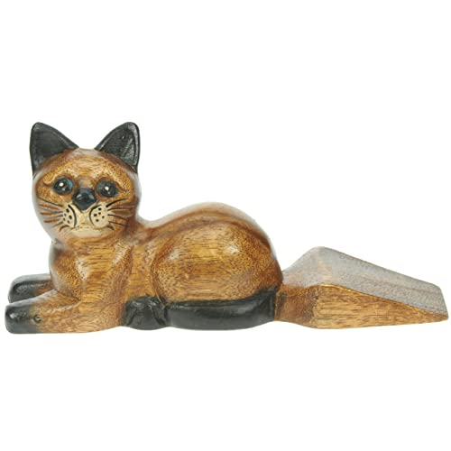 Door Stop Cat Hand Carved Wood Traditional Quality Crafted Wooden Animal Doorstop