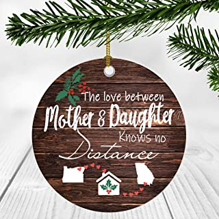 Merry Christmas Ornament Two State Map Oregon Georgia - The Love Between Mother And Daughter Knows No Distance - Christmas Ideas Gift Long Distance Mom And Daughter Ornament 3