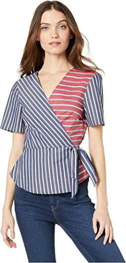Wrap Front Short Sleeve Woven Top