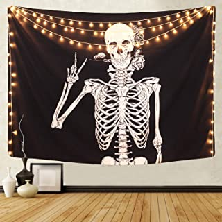 Martine Mall Rock and Roll Skull Tapestries, Funny Skull Human Skeleton Tapestry Wall Hanging for Room Decoration, Black and White Wall Art