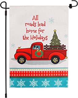 ACMETOP Decorative Christmas Garden Flag Vintage Tree, Home Xmas Quote House Yard Flag with Red Truck, Rustic Winter Garden Yard Decorations, New Year Seasonal Outdoor Flag 12.5 x 18 Inch
