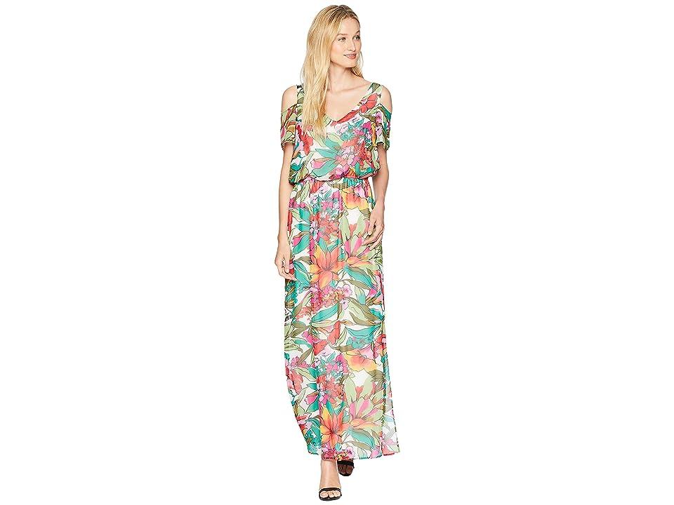 Nine West HMC Cold Shoulder Maxi Dress with Shirred Waist (Tropical Multi) Women