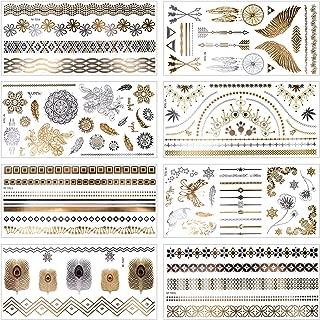 MelodySusie Metallic Temporary Tattoos - 8 Sheets Mandala, Mehndi, Boho Temporary Fake Waterproof Tattoos Stickers in Gold and Silver