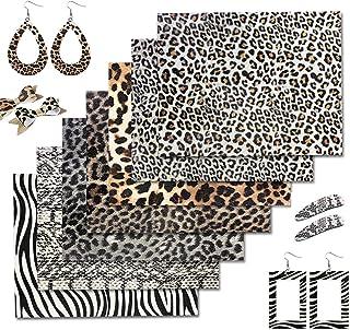 """ZAIONE 7pcs 8"""" x 12"""" (20cm x 30cm) A4 Size Faux Leather Sheets Gold Metallic Leopard Cheetah Wild Animal Print Pattern Fau..."""