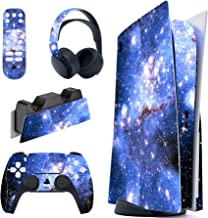 PlayVital Blue Galaxy Full Set Skin Decal for PS5 Console Regular Edition, PS5 Sticker Vinyl Decal Cover for Playstation 5...