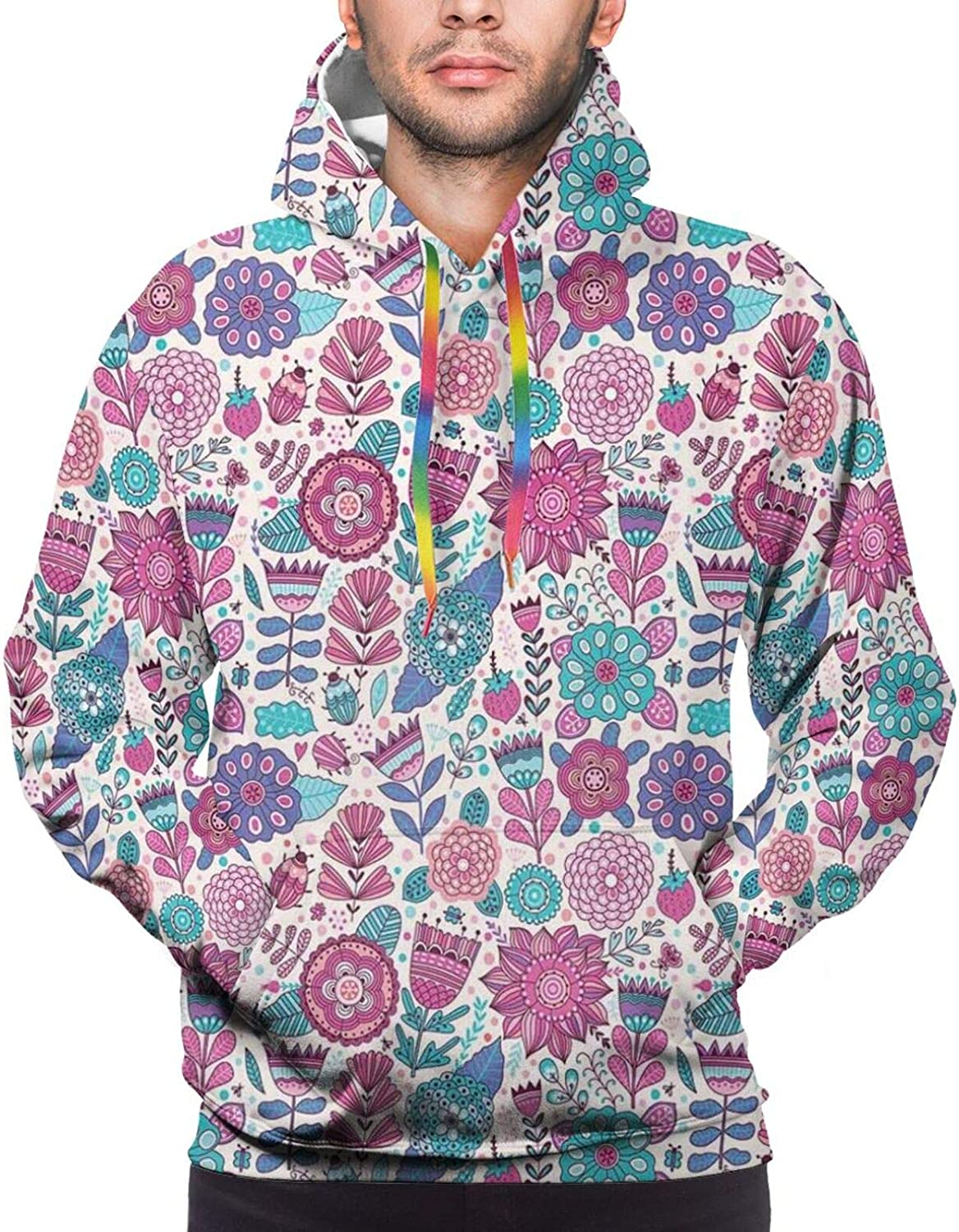 Men's Hoodies Sweatshirts,Doodle Pattern Composition with Forest Wildlife Animal Characters in Winter Clothes
