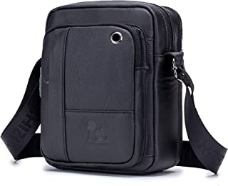 Men's Shoulder Bag, Popoti Handbag Crossbody Bag Leather Shopping School Backpack Messenger Carrying Bags Tote Wallet Small Pocktes (Black)