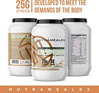 NutramealRX- Whey Isolate Protein for Men and Women, Meal Replacement Shake, High Quality Protein, Easy Mixability, Tone Up, Improve Strength, Delicious Taste, Vanilla Flavor