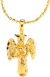 Pendant Necklace [ Small Guardian Angel ] 20X More 24k Plating Than Other Religious Necklaces Charms - Comes with 18 inch Twisted Nugget Chain with Free Lifetime Replacement Guarantee