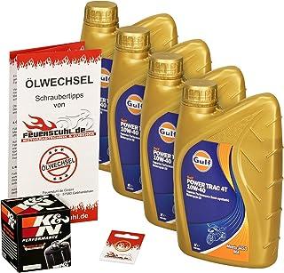 Gulf 10W 40 Öl + K&N Ölfilter für Yamaha XVS 1300 Midnight Star, 07 09, VP26   Ölwechselset inkl. Motoröl, Filter, Dichtring